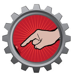 Metal badge with button pushing by finger vector