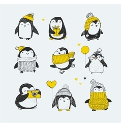 Cute hand drawn penguins set - greetings cards vector