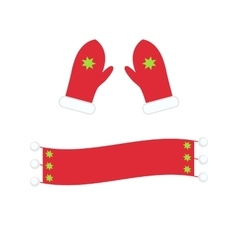 Winter warm mittens and scarf in flat style vector