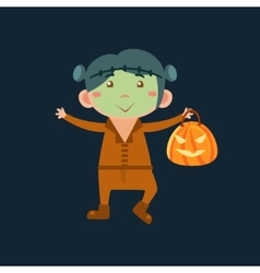 Boy in frankenstein haloween disguise vector