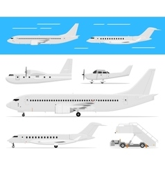 Commercial airplane and private jets vector