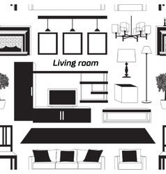 Cool graphic living room pattern vector
