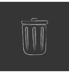 Trash can drawn in chalk icon vector