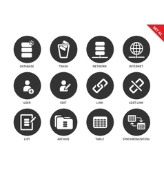 Database icons on white background vector