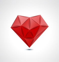 Abstract red geometric crystal heart vector image vector image