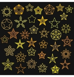 Big set of monoline star icons vector