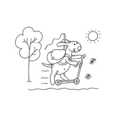 black-white sketch funny cartoon puppy vector image