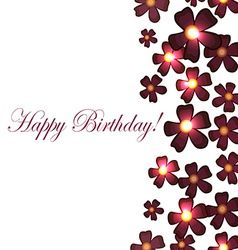 Card with birthday flowers with burgundy vector
