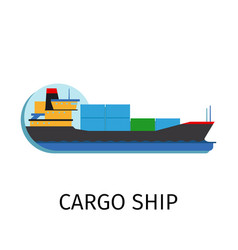 cargo ship in flat style vector image vector image