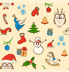 Cartoon christmas seamless pattern with vector