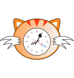 Cat clock vector
