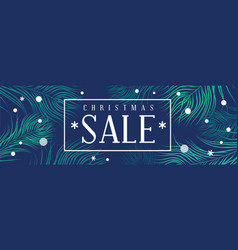christmas sale banner with fir and snowflakes vector image vector image