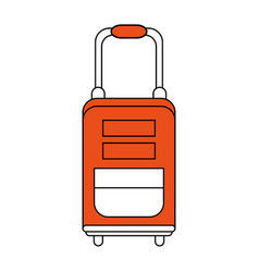 Color silhouette image orange travel suitcase with vector