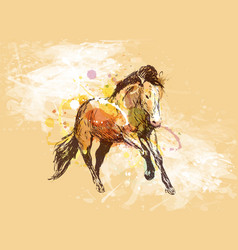 colored hand sketch of a running horse vector image vector image