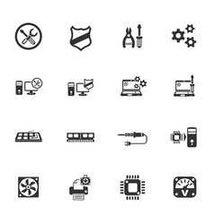 Computer repair icon set vector