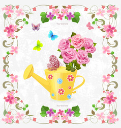 Cute can watering with bouquet of lovely roses vector