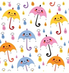 Cute umbrellas raindrops seamless rain pattern vector