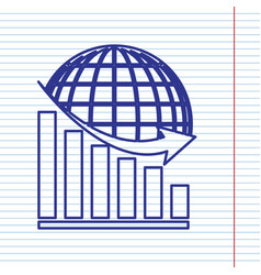 Declining graph with earth navy line icon vector