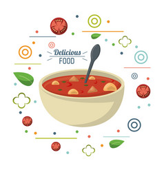 Delicious food soup nutritional diet spoon poster vector