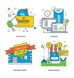 Discounts voucher stock market and shopping vector