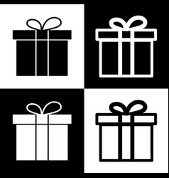 Gift box sign black and white icons and vector