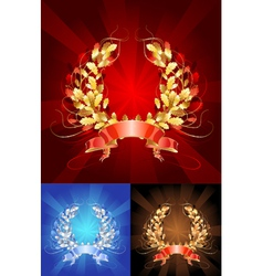 Golden oak wreath vector