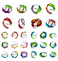 hexagon icons geometric brand company logotype vector image
