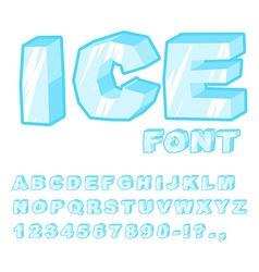 Ice font cold letters transparent blue alphabet vector