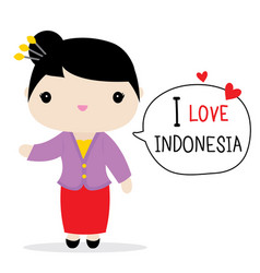 Indonesia women national dress cartoon vector