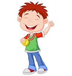 Little boy cartoon celebrates his golden medal vector