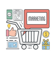 Marketing business to shopping online information vector