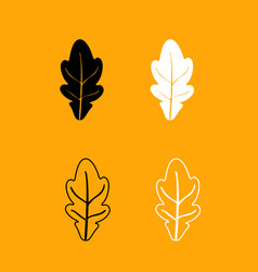 oak leaf black and white set icon vector image