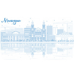 Outline managua skyline with blue buildings and vector