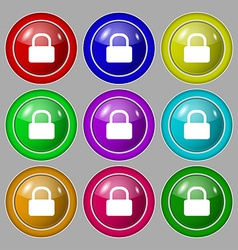 Pad lock icon sign symbol on nine round colourful vector