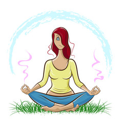 red-haired girl doing yoga and meditating vector image