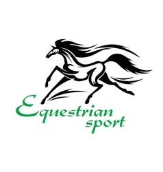 Running racehorse icon for equestrian sport design vector