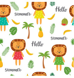 Seamless pattern with cute cartoon little lion vector