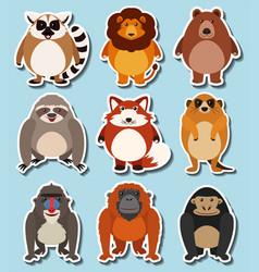 sticker design for wild animals vector image