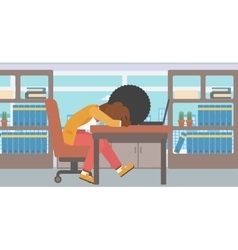 Woman sleeping on workplace vector