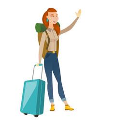 Young caucasian traveler waving her hand vector