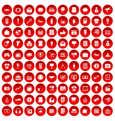 100 marketing icons set red vector