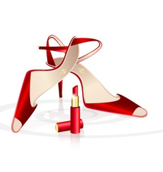 Red womans shoes with lipstick vector