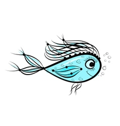 Sketch of funny fish for your design vector