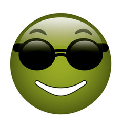 sunglasses and thumb emoticon style icon vector image
