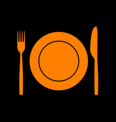 fork knife and plate sign orange icon on black vector image