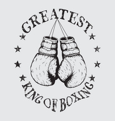 old sports label with boxing gloves vector image