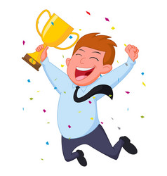 Happy businessman with trophy and confetti vector