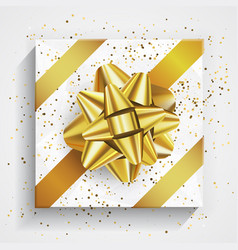 white gift box - gold christmas and birthday bow vector image