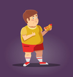 fat boy with fast food unhealthy eating vector image