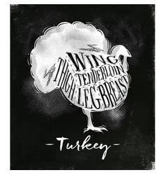 turkey cutting scheme chalk vector image
